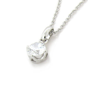 Brilliant 1ct (5.25mm) Solitaire Diamond Simulant 4-prong set Plain Clasp Pendant in Silver with White Gold Plating from Desert Diamonds