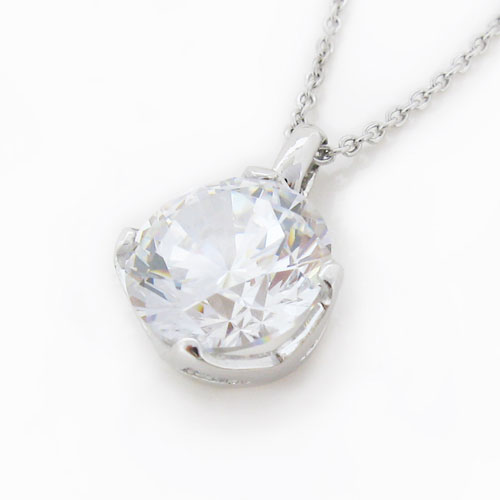 Brilliant 3.5 carat Diamond 4-prong set Plain Clasp Pendant in Silver with White Gold Plating by Desert Diamonds