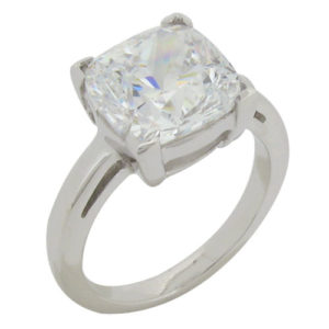 Cushion 8.5 carat (10x10mm) Diamond Simulant Ring Angle Prong in Silver with White Gold Plating by Desert Diamonds