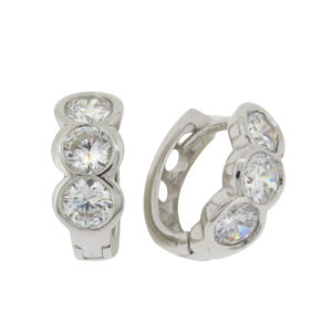 Brilliant 0.79 carat (5mm) x3 Diamond Simulant Channel Set Hoop Earrings in Silver with White Gold Plating by Desert Diamonds