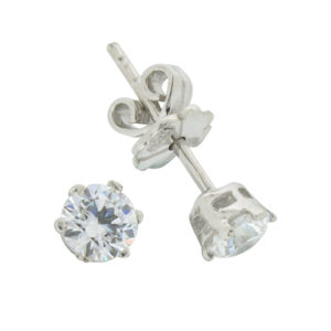 Brilliant 0.5 carat 4.25 millimeter Diamond Simulant prong set Stud Earrings