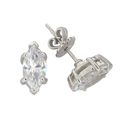 Marquis 1 carat 4 x 8 millimeters Diamond prong set Stud Earrings in Silver
