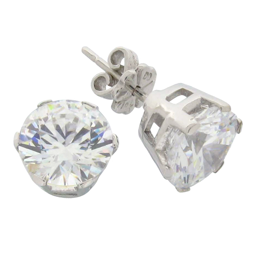 Brilliant 4 carat 8.5 millimeters Diamond Simulant prong set Stud Earrings in Silver