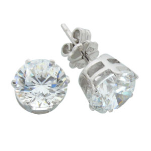 Brilliant 3 carat 7.75 millimeter Diamond Simulant prong set Stud Earrings in Silver