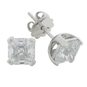 Asscher 3.5 carat 6.5 x 6.5 millimeter Diamond Simulant double prong set Stud