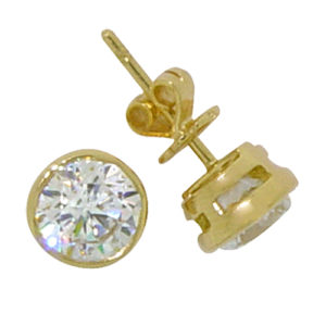 Brilliant Cut Bezel Solitaire Solid Gold Stud Earrings