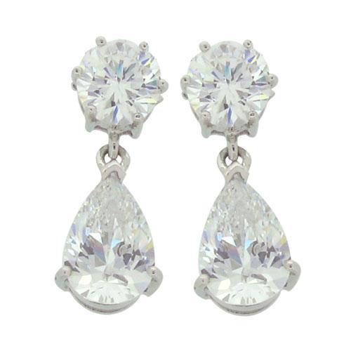 Brilliant 2carat 5.25 millimeter with drop link 2 carat 6 x 9 millimeter Tear drop Diamond Simulant prong set Stud Earrings Drop