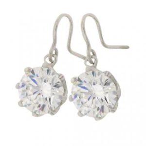 Brilliant 6 carat 10 millimeter Diamond Simulant 8 prong set Shepherd Hook Drop in Silver