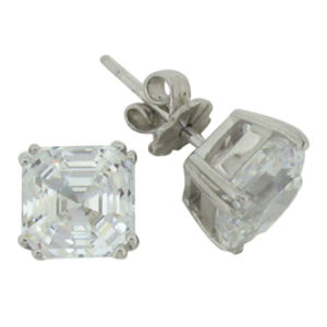 Royal Asscher 6 carat 8 x 8 millimeter Diamond Simulant double prong Stud Earrings in Silver