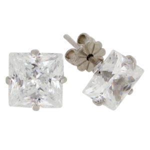 Princess 6 carat 8 x 8 millimeter Diamond Simulant 4-prong set Stud Earrings in Silver