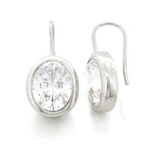 Oval 4 carat 8 x 10 millimeter Diamond Simulant bezel set Shepherd Hook Drop in Silver