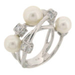 fresh water pearl and simulant diamond ring