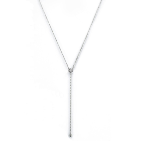 Lariat style necklace embedded with diamond simulants