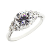 3 stone diamond ring in white gold prong set