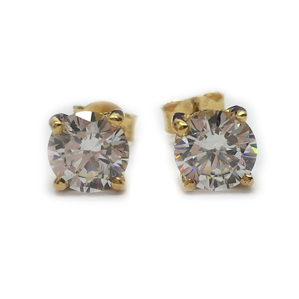 4 prong, 6mm diamond simulant solitaire stud earrings yellow gold plated