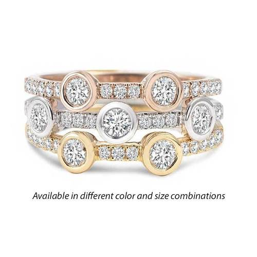 stacking rings three tone diamond simulants imitation diamonds fine bands besel set stunning combination to wear together any occasion