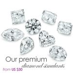 several premium cut diamond simulant stones baguette, emerald, heart, marquis, cushion, asscher, brilliant, princess, oval, teardrop with purple text stating prices from U S dollars 30