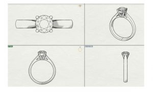 series of images of the process of designing an engagement ring