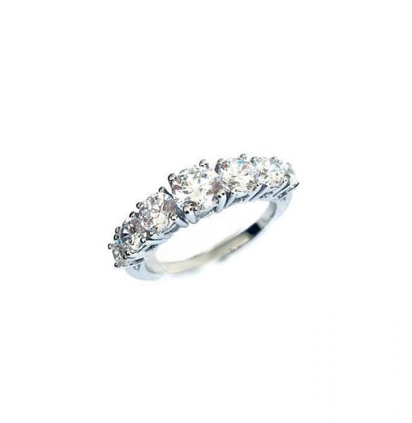 Ring Half band eternity Diamonds Simulant Brilliant prongs set Sterling Silver White gold plating.