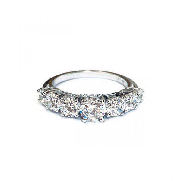 Ring Half band eternity Diamonds Simulant Brilliant prongs set Sterling Silver White gold plating.