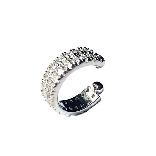 Cuff helix cartilage non pierced sterling silver diamond simulant earring