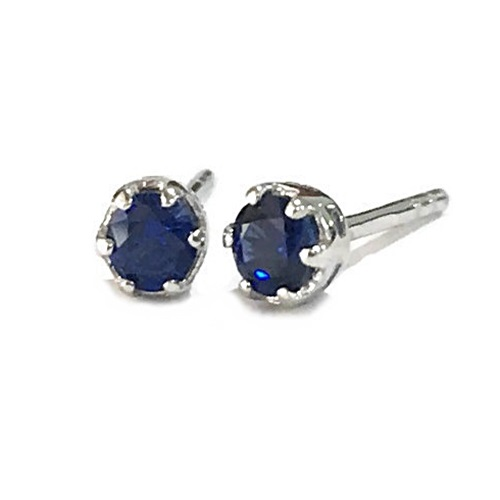 Classic Solitaire Stud Round Brilliant Blue Sapphire Simulant Sterling Silver white gold plating.