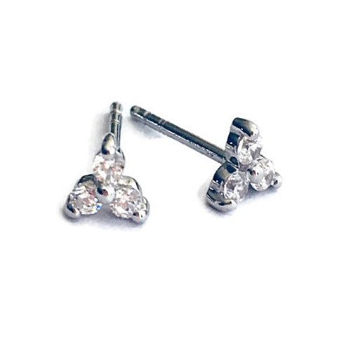 three stone round diamond simulant stud earring in sterling silver