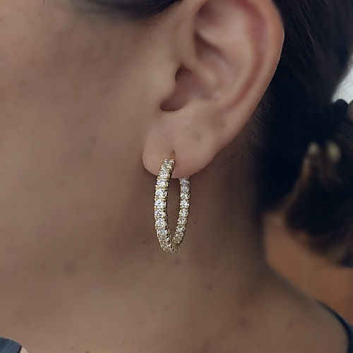 Double Sided Round Diamond Simulant Hoop Earrings