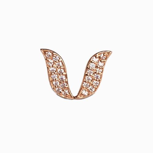 Leaf shape stud earrings set with lab created diamond simulants.