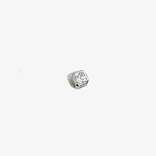Float Pendant on illusion wire with Princess cut diamond simulant in Octagon Shape Bezel Setting