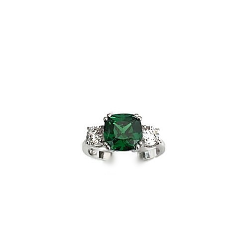 Emerald Green Cushion Cut Engagement Ring